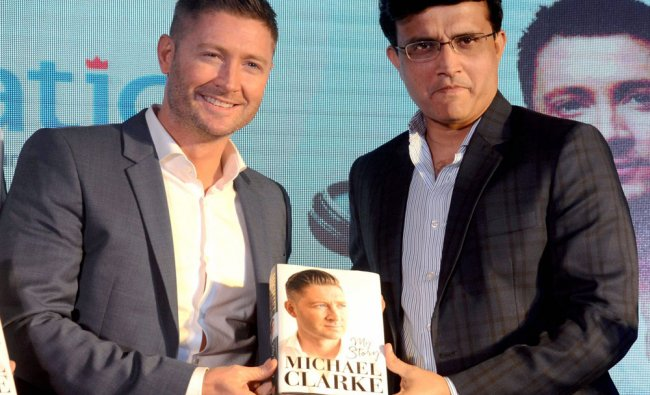 Former Australian cricketer Michael Clarke with former Indian captain Sourav Ganguly launches his...