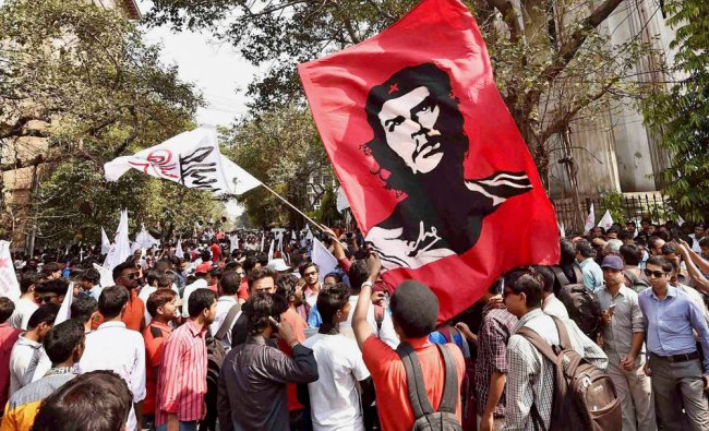 Students and members of left-inclined Students\' Federation of India (SFI) and Democratic Youth ...