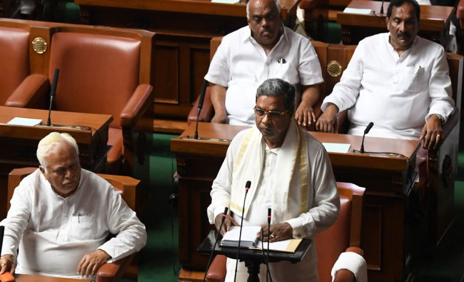 Siddaramaiah presenting the State Budget for the year 2017-18, during the budget sessions...
