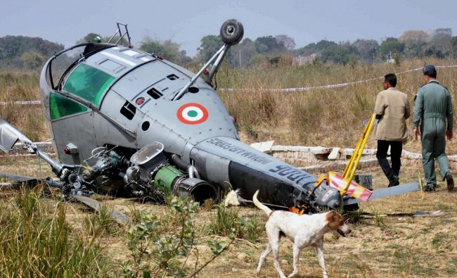 Rescue work in progress after Indian Air Force Chetak helicopter toppled while attempting...