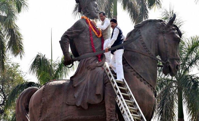 Members paying floral tribute to Maratha warrior king Chhatrapati Shivaji on his birth...