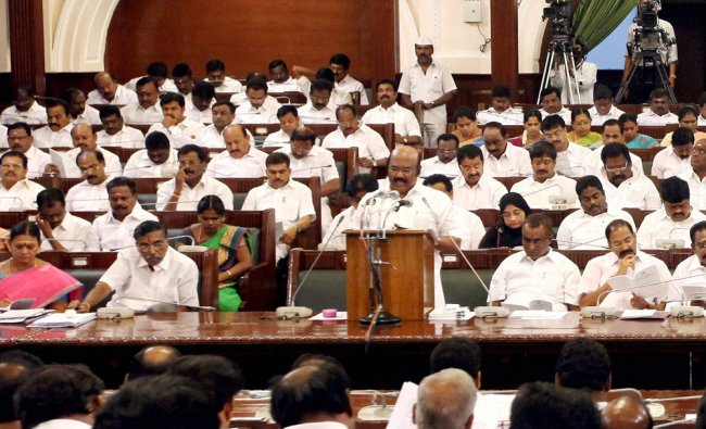 Tamil Nadu Finance Minister D Jayakumar presents the state budget for 2017-18 at Secretariat in ...
