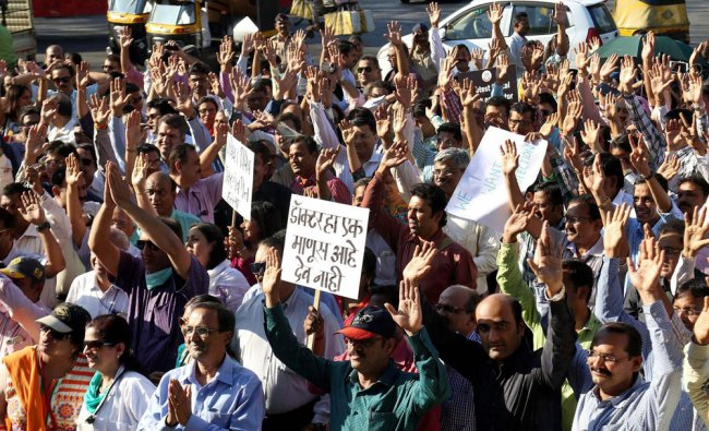 India Association of Resident Doctors members at a protest during their state-wide strike in Thane..