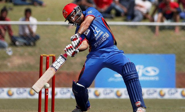 Afghanistan\'s captain Asghar Stanikzai plays a shot during the second one day international cricket