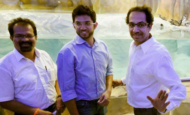 Shiv Sena Chief Uddhav Thackeray with Mumbai Mayor Vishwanath Mahadeshwar and Yuva sena chief ...