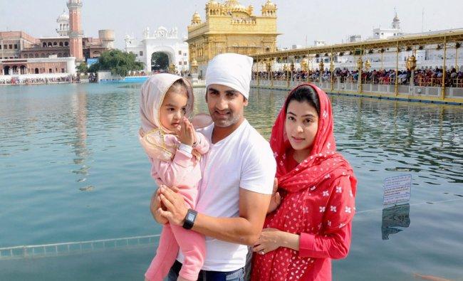 Indian Cricketer Gautam Gambhir along with his wife Natasha Jain and Children Aazeen Gambhir...