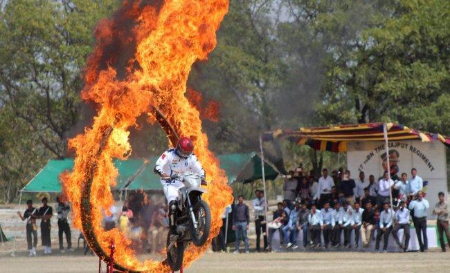 Army personnel performs daredevil stunt at Platinum Jubilee of 17th Rajpoot Regiment in Meerut...