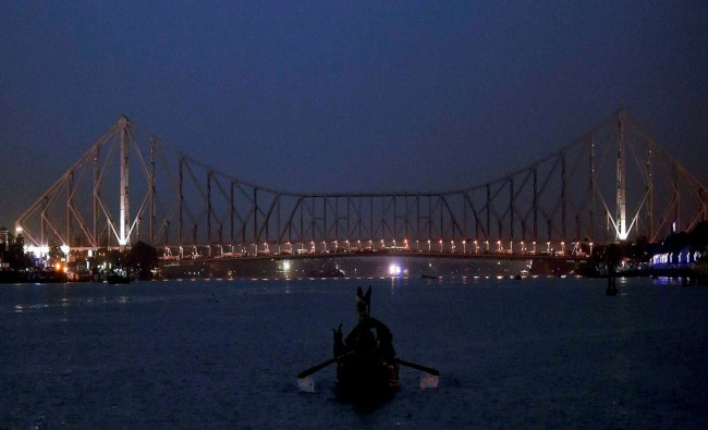 A view of Howrah Bridge in Kolkata on Friday evening...