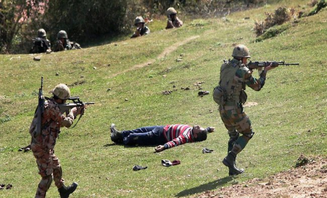 Soldiers of Indian Army and Royal Army of Oman during their joint training exercise, Exercise...