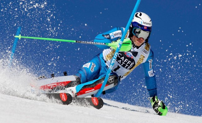 Norway\'s Henrik Kristoffersen skis during the first run of a men\'s World Cup slalom ski race...