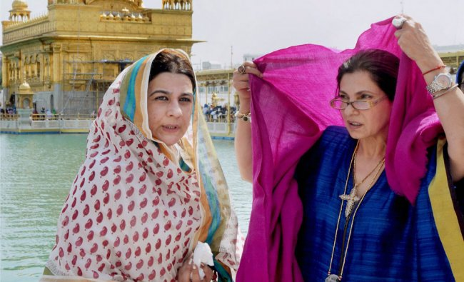 Veteran Bollywood actresses Amrita Singh and Dimple Kapadia paying obeisance at Golden Temple in...