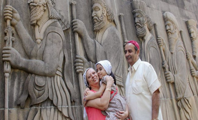 A Parsi family visiting a fire temple at Tardeo in Mumbai on the occasion of Navroz festival...
