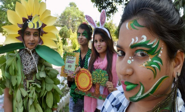 Students spread awareness on environment issues on the occasion of International Forest Day...