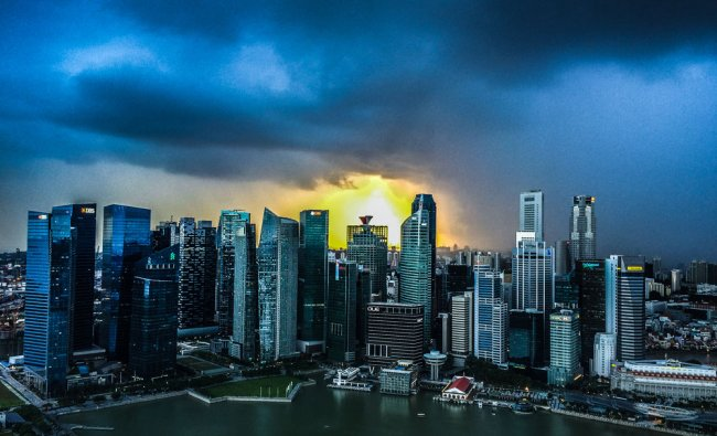 Stormy sunset Singapore