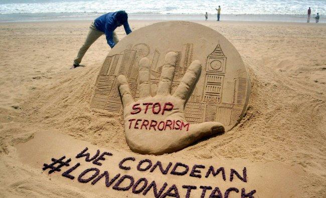 Renowned sand artist Sudarsan Pattnaik creates a sand sculpture on terrorist attack in London...