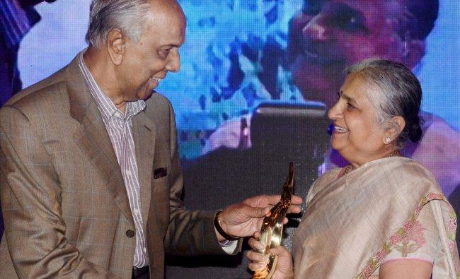 Industrialist S K Birla honours Infosys Foundation chairperson Sudha Narayana Murthy...