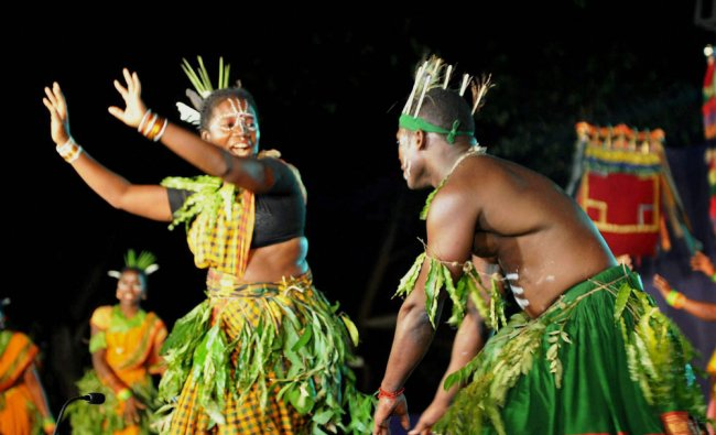Folk artists perform at a cultural event in Chikmagalur on Saturday...