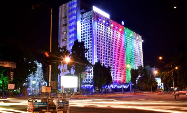 SBM head office building, which is now State bank of India after the merger, is illuminated...
