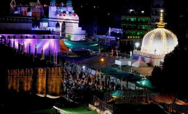 Shrine of Sufi saint Khwaja Moinuddin Chishti decorated with lights during the Urs festival...