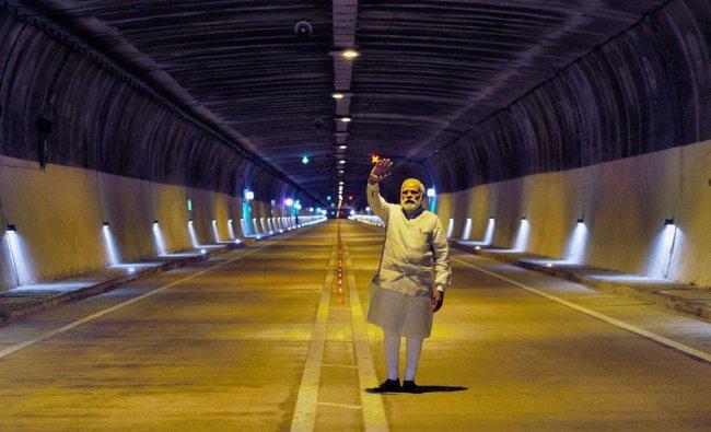 Prime Minister Narendra Modi visits Chenani-Nashri Tunnel, in Chenani (J&K) on Sunday....