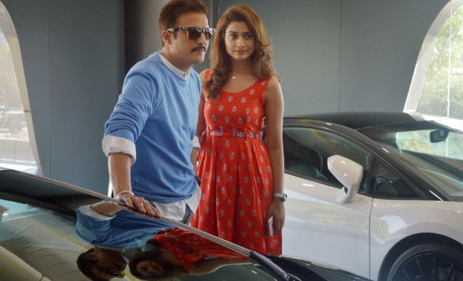 Bollywood actors Jimmy Shergill and Payal Rajput during a film shooting in Gurugram on Monday...