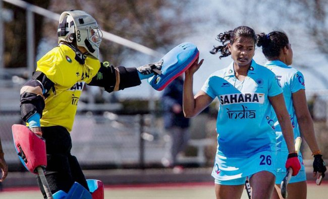Indian Hockey player Vandana stars during a match in West Vancouver, Canada on Monday...