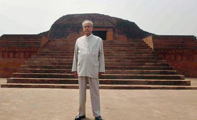 President Pranab Mukherjee poses during visit to Vikramshila University Monuments and Museum...
