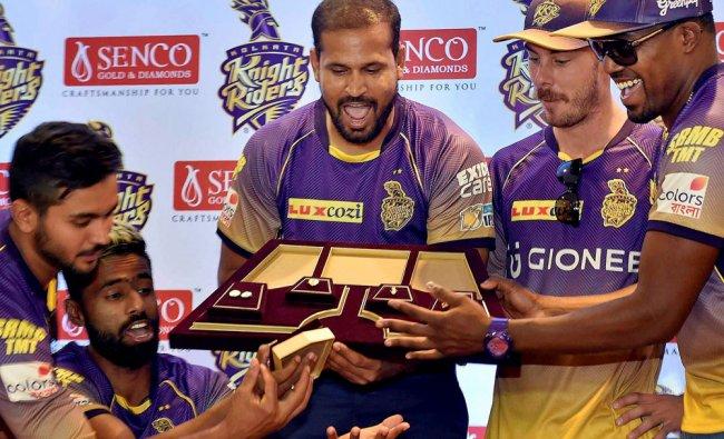 KR cricketers Yusuf Pathan,Surya Kumar Yadav,Manish Pandey,Darren Bravo and Chris Lynn unveil...