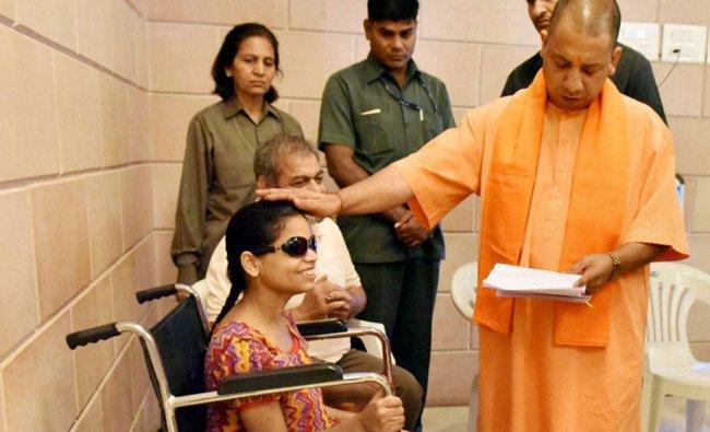 Uttar Pradesh Chief Minister Yogi Adityanath listening to people\'s problems during his Janata Darbar