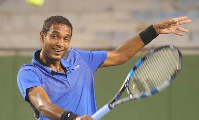 India\'s Devis Cup team player Ramkumar Ramanathan during the team practice session at KSLTA stadium.