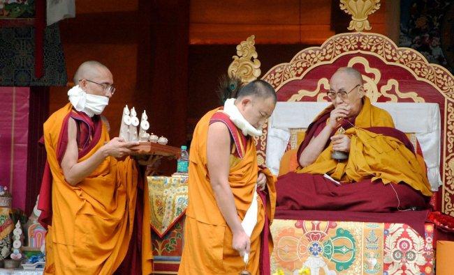 Tibetan spiritual leader Dalai and his followers during a....