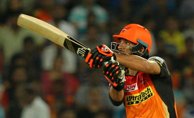 Sunrisers Hyderbad player Yuvraj Singh plays shot during the 2017 Indian Premier League...