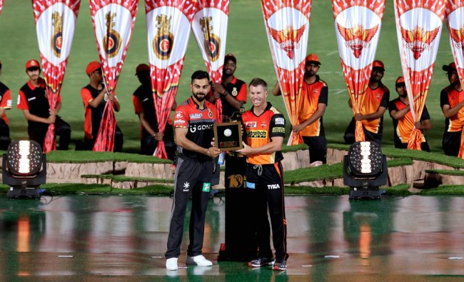Royal Challengers Bangalore captain Virat Kohli and Sunrisers Hyderabad captain...