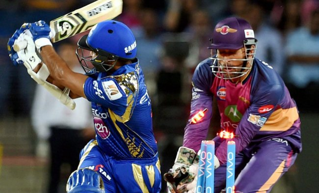 Indians batsman Parthiv Patel bowled plays a shot during the match played...