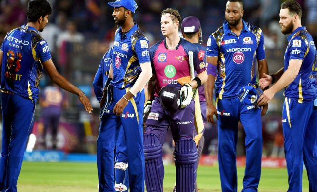 Rising Pune Supergiants batsman Steve Smith celebrates victory during the IPL T20 match...