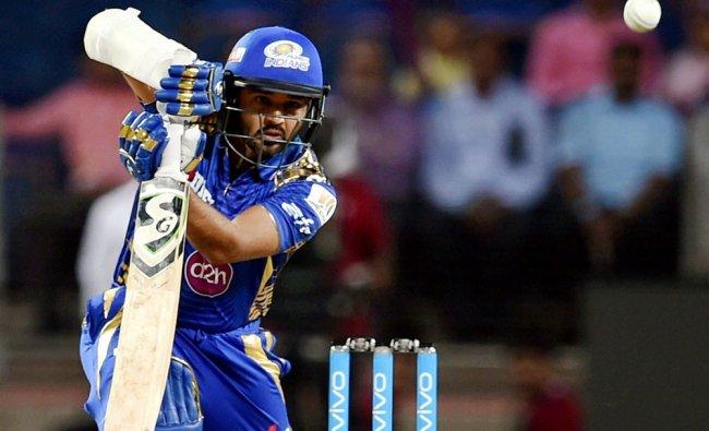 Mumbai Indians batsman Parthiv Patel plays a shot during the match played...