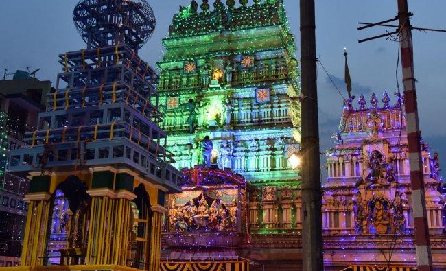 Dharmaraya Temple being lighting decoration for coming Karaga Shaktyotsava in Dharamaraya Road...