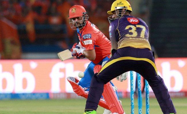 Suresh Raina, captain of Gujarat Lions plays a shot during match 3 of the Vivo 2017 IPL...