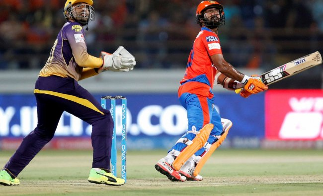 Dinesh Karthik of the Gujarat Lions plays a shot during match 3 of the Vivo 2017 IPL...
