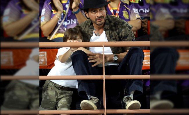 Shah Rukh Khan co owner of Kolkata Knight Riders with his son during match 3 of the Vivo 2017 IPL...