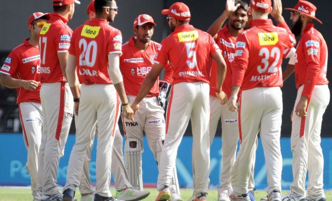 Kings XI Punjab players celebrates the wicket of Mayank Agarwal of RSP during an IPL match...