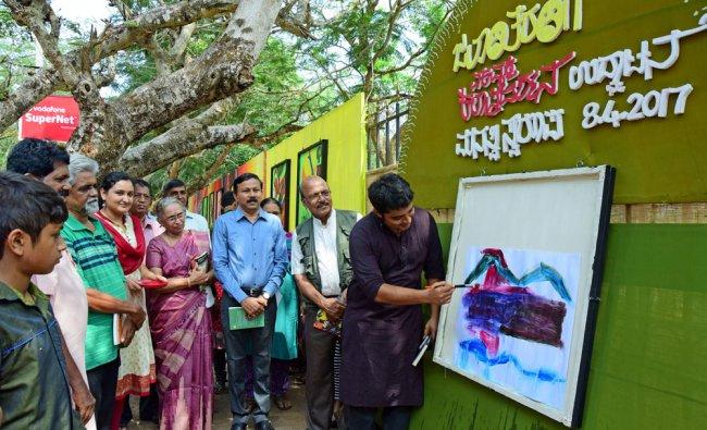 Alva\'s Foundation Managing Trustee M Vivek Alva inaugurates painting exhibition \'Jalantaranga,\'...