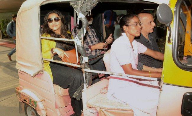Actress Vidya Balan and director Mahesh Bhatt during promotions for upcoming film \'Begum Jaan\',...