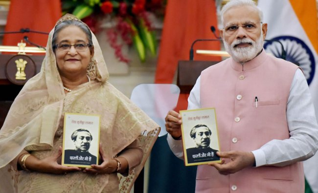 Prime Minister Narendra Modi with his Bangladeshi counterpart Sheikh Hasina release the Hindi...