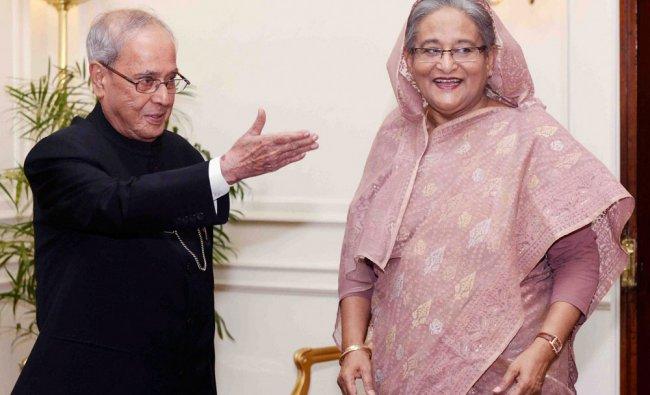 President Pranab Mukherjee with Sheikh Hasina, Prime Minister of Bangladesh at Rashtrapati Bhavan...