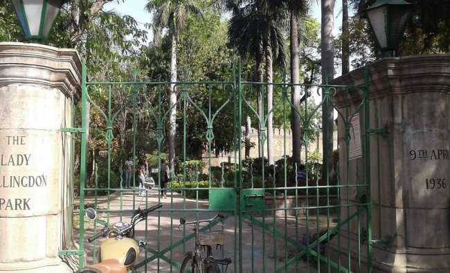 The old entrance gate of the Lodhi Gardens in central Delhi on its 81st anniversary on Sunday...