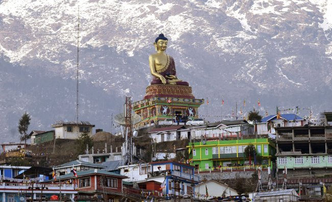 A Buddha statue is pictured in Tawang in the northeastern state of Arunachal Pradesh, India...
