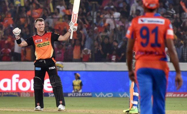 David Warner captain of Sunrisers Hyderabad celebrates win against Gujarat Lions at the IPL 2017...