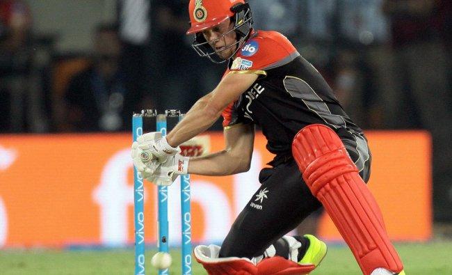 RCB batsman AB de Villiers plays shot during the IPL 2017 match against KXIP at the Holkar Stadium..