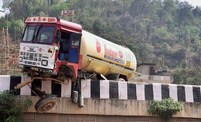 A gas tanker which met with an accident near Khanapara Ganesh temple in Guwahati on ...